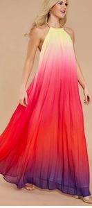 Rainbow Pleated Halter Maxi Dress